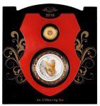 2010年澳洲珀斯铸币局铸庚寅虎年彩色金银币摆台一件 完未流通