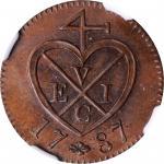 1787年英国联合东印度公司苏门答腊1柯坪。伯明翰铸币厂。 MALAYA. British United East India Company. Sumatra. Keping, AH 1202//1