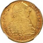 COLOMBIA. 8 Escudos, 1790-P SF. Popayan Mint. Charles IV (1788-1808). NGC AU-55.