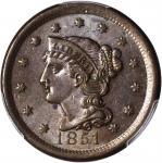 1851 Braided Hair Cent. MS-62 BN (PCGS).