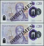Bank of England, Sarah John, polymer £20, ND (20 February 2020), serial number AA01 000039/40, purpl