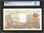 NEW CALEDONIA. Banque de LIndo-Chine. 1000 Francs, ND. P-43s. Specimen. PCGS BG Gem Uncirculated 66