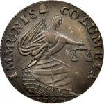 1787 Immunis Columbia Copper / Large Eagle Reverse. W-5680. Plain Edge, Narrow Planchet. AU-58 (PCGS