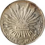 1882-Ca MM年墨西哥鹰洋一圆银币。奇瓦瓦造币厂。MEXICO. 8 Reales, 1882-Ca MM. Chihuahua Mint. NGC MS-62.