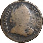 1788 Vermont Copper. RR-25, Bressett 16-U, W-2195. Rarity-3. Bust Right. VG-8.