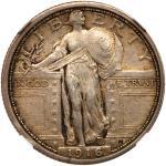 1916 Liberty Standing Quarter Dollar. NGC AU58