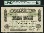 x Government of India, 100 rupees, Calcutta, 1904, serial number RA42 69615, black and white with va