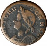 1786 Connecticut Copper. Miller 5.7-G, W-2605. Rarity-8. Mailed Bust Left. VG-10 (PCGS).