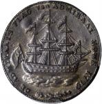 1778-1779 (Circa 1780) Rhode Island Ship Medal. Betts-563, W-1740. Wreath Below Ship. Brass. AU-58 (