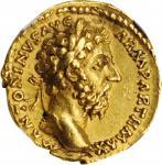 MARCUS AURELIUS, A.D. 161-180. AV Aureus (7.24 gms), Rome Mint, A.D. 168. NGC Ch EF, Strike: 5/5 Sur
