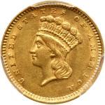 1860 $1 Gold Indian. PCGS AU58