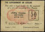 x The Government of Ceylon, 50 cents, 1942, serial number A/1 887617, (Pick 41, TBB B236a), good fin