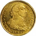 COLOMBIA. 2 Escudos, 1777-SF. Popayan Mint. Charles III (1759-88). PCGS Genuine--Cleaned, AU Details
