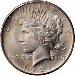 1921 Peace Silver Dollar. High Relief. MS-66 (PCGS).