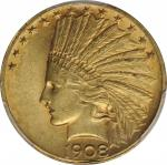1908 Indian Eagle. Motto. MS-62 (PCGS).