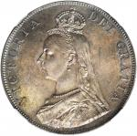 1887年英女皇像4先令。伦敦铸币厂。 GREAT BRITAIN. Double Florin, 1887. London Mint. Victoria. NGC MS-64+.