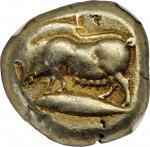 MYSIA. Kyzikos. EL Stater (16.07 gms), ca. 500-450 B.C. NGC Ch VF, Strike: 4/5 Surface: 4/5. Counter