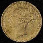 GREAT BRITAIN Victoria ヴィクトリア(1837~1901) Sovereign 1876 洗浄 VF+