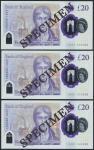 Bank of England, Sarah John, polymer £20, ND (20 February 2020), serial number AA01 000092/93/94, pu