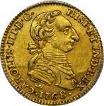 COLOMBIA.1768-JV 2 Escudos. Santa Fe de Nuevo Reino (Bogotá) mint. Carlos III (1759-1788). Restrepo