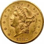1882-CC Liberty Head Double Eagle. MS-61 (PCGS).