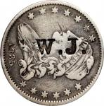 C. W. J. on an 1835 B-1 Capped Bust quarter. Brunk-Unlisted, Rulau-Unlisted. VF-Host coin Extremely