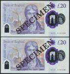 Bank of England, Sarah John, polymer £20, ND (20 February 2020), serial number AA01 000035/36, purpl