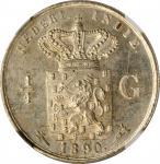 1890年荷兰东印度1/4古尔登。威廉三世。NETHERLANDS EAST INDIES. 1/4 Gulden, 1890. William III. NGC MS-64.