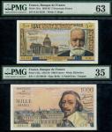 Banque de France, 1000 francs, 5 nouveaux francs,10 francs, 50 francs (2), 10 francs, (Pick 134a, 14