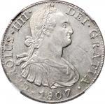 1807-Mo TH年墨西哥双柱壹圆银币。墨西哥城铸币厂。查理四世。错版。 MEXICO. Mint Error -- Obverse Struck Through -- 8 Reales, 1807