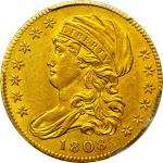 1808 Capped Bust Left Half Eagle. BD-3. Rarity-4. Normal 5D. AU-55 (PCGS).