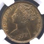 HONG KONG 香港 Cent 1901  NGC-MS63BN UNC