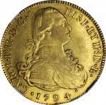 GUATEMALA. 8 Escudos, 1794-NG M. Nueva Guatemala Mint. Charles IV (1788-1808). NGC EF-40. WINGS Appr
