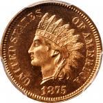 1875 Indian Cent. Snow-PR1. Proof-66 RD Cameo (PCGS).