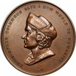 Undated (1894) Christopher Columbus 400th Anniversary of Discovery Medal. Bronze. 76.9mm. Eglit-104;