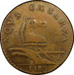 1787 New Jersey copper. Maris 32-T. Rarity-2. Outlined Shield. EF-40 (PCGS).