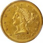 1844-O Liberty Head Eagle. Winter-5. Repunched Mintmark. AU-58 (PCGS).