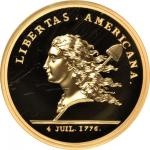 1781 (2014) Libertas Americana Medal. Paris Mint Restrike. Gold. 5 ounces. Proof-70 Ultra Cameo (NGC