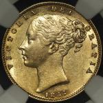 GREAT BRITAIN Victoria ヴィクトリア(1837~1901) Sovereign 1857 NGC-AU58 EF+