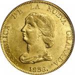 COLOMBIA. 16 Pesos, 1838-BOGOTA RS. Bogota Mint. NGC MS-62.
