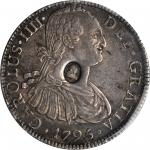 Great Britain. Undated (1797) Dollar. Spink-3765A, KM-634-- Counterstamped on a 1795-FM Mexico 8 Rea