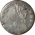 1786 Connecticut Copper. Miller 5.14-S, W-2670. Rarity-5+. Mailed Bust Left, Sword Hilt and Guard. V