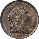 1807 Draped Bust Half Cent. C-1, the only known dies. Rarity-1. MS-64 BN (PCGS).