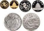 1991年中国人民银行发行熊猫金币发行10周年纪念金、银币、章三枚:其中金币重一盎司