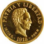 CUBA. 10 Pesos, 1915. Philadelphia Mint. NGC PROOF-65 Cameo.
