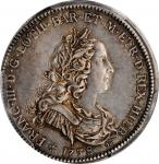 ITALY. Tuscany. 1/2 Francescone, 1738. Florence Mint. Francesco II di Lorena. PCGS AU-58 Gold Shield