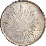 1853-Zs OM年墨西哥鹰洋壹圆银币。萨卡特卡斯造币厂。 MEXICO. 8 Reales, 1853-Zs OM. Zacatecas Mint. NGC Unc Details--Chopma