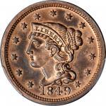 1849 Braided Hair Cent. N-18. Rarity-6. Proof-65+ RB (PCGS). CAC.