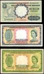 1953年马来亚及英属婆罗洲货币发行局壹&伍圆。三张。MALAYA AND BRITISH BORNEO. Lot of (3) Board of Commissioners of Currency