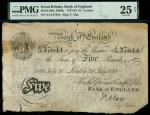 Bank of England, Frank May (1873-1893), 5, London, 31 July 1888, serial number A/19 37644, black and